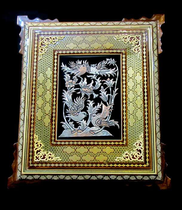 طرح ترمه برای نقاشی نگارخانه ایرانی - تابلو باغ گنجشک