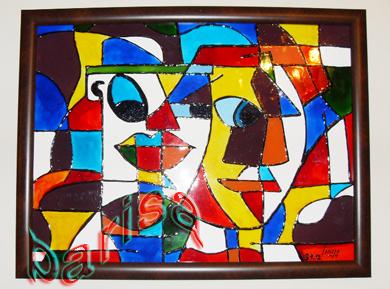 طرح خاتون برای نقاشی ویترای- کوبیسم