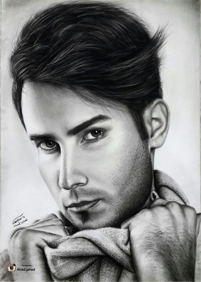 عکس طراحی چهره با سیاه قلم